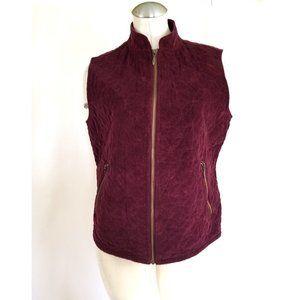 Eddie Bauer Size L Corduroy Vest Burgundy